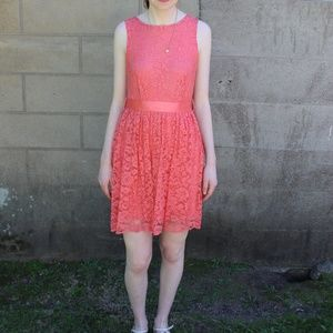 Modcloth Pink Lace Dress with Bow